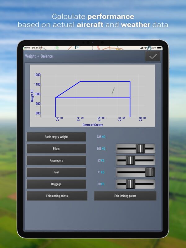 Calculate performance based on actual aircraft and weather data - tablet