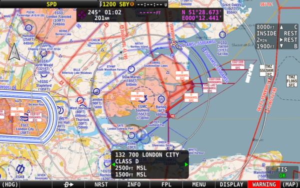 Dynon SkyView HDX EasyVFR 4 chart for Dynon Southend-on-Sea