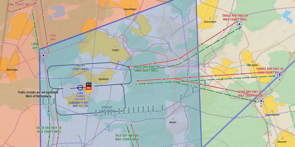 In map VFR arrival and departure routes EDFE