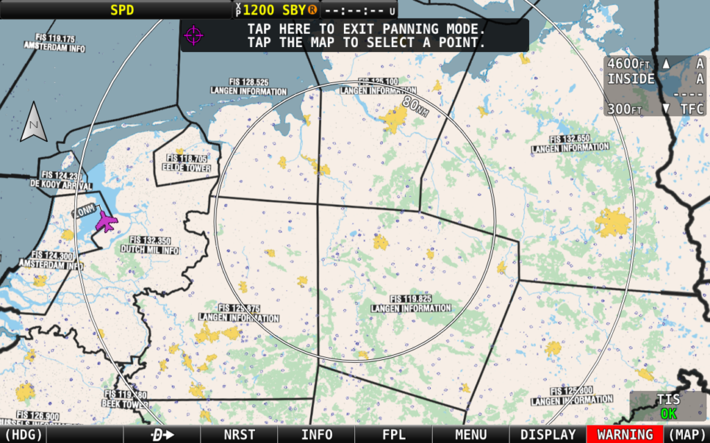 SkyView HDX EasyVFR 4 chart for Fynon FIS frequancies