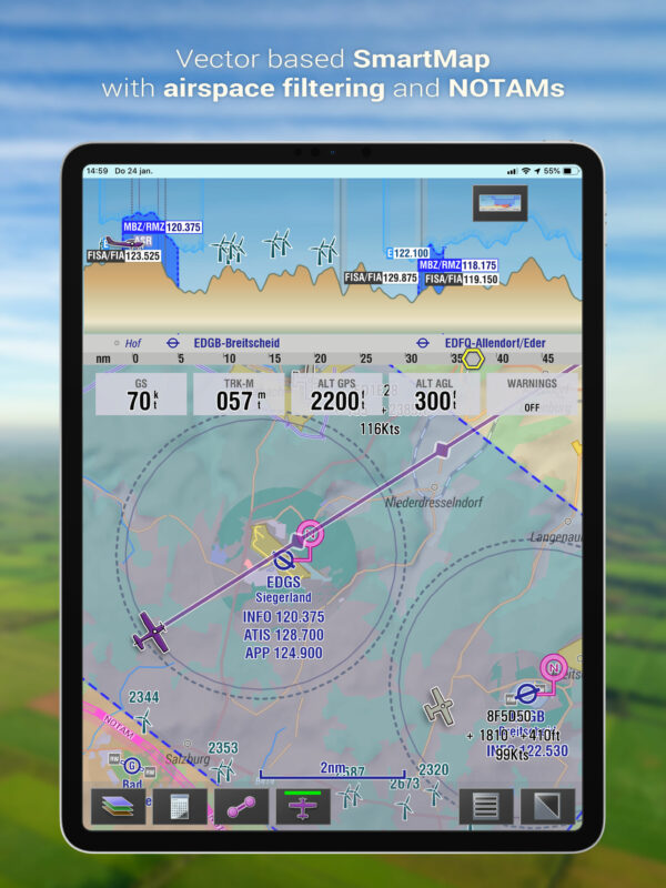 Vector based SmartMap with airspace filtering and NOTAMs - tablet